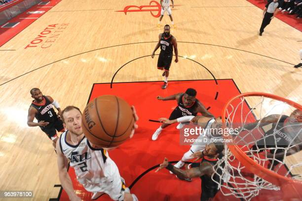 Joe Ingles of the Utah Jazz handles the ball against the Houston Rockets in Game Two of Round Two of the 2018 NBA Playoffs on May 2 2018 at Toyota...