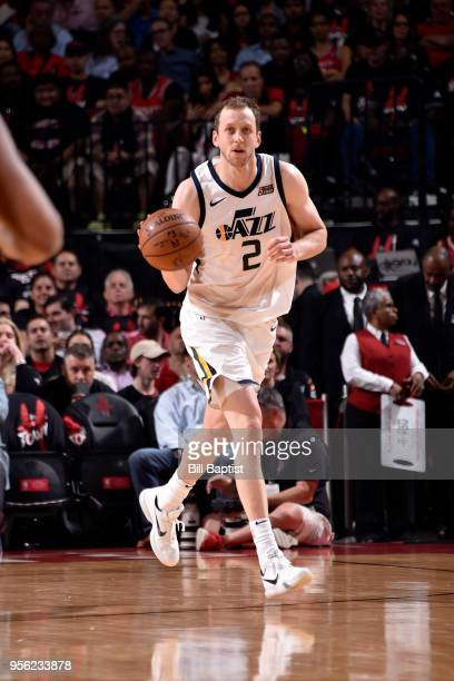 Joe Ingles of the Utah Jazz handles the ball against the Houston Rockets in Game Five of the Western Conference Semifinals of the 2018 NBA Playoffs...