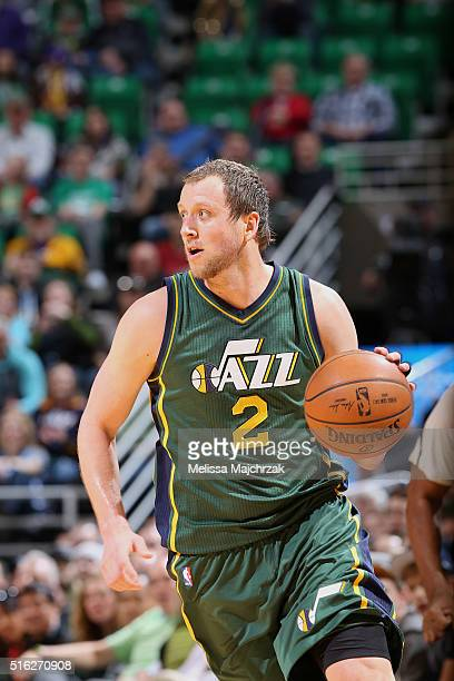 Joe Ingles of the Utah Jazz handles the ball against the Phoenix Suns on March 17 2016 at vivintSmartHome Arena in Salt Lake City Utah NOTE TO USER...