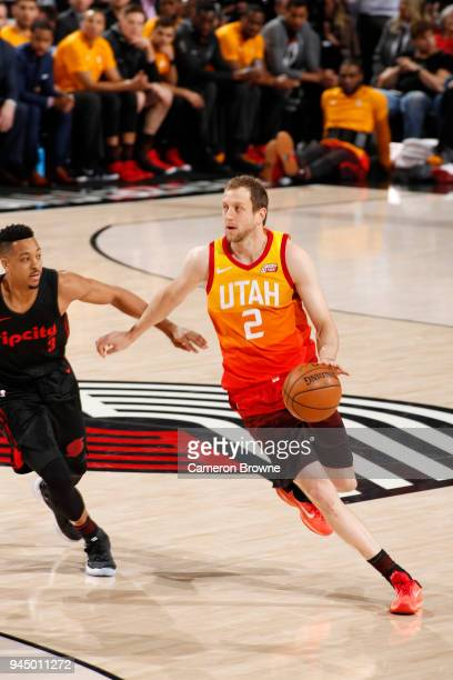 Joe Ingles of the Utah Jazz handles the ball against the Portland Trail Blazers on April 11 2018 at the Moda Center in Portland Oregon NOTE TO USER...