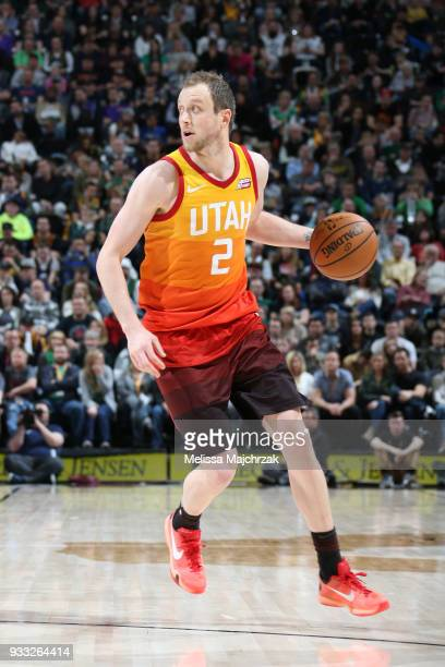 Joe Ingles of the Utah Jazz handles the ball against the Sacramento Kings on March 17 2018 at vivintSmartHome Arena in Salt Lake City Utah NOTE TO...