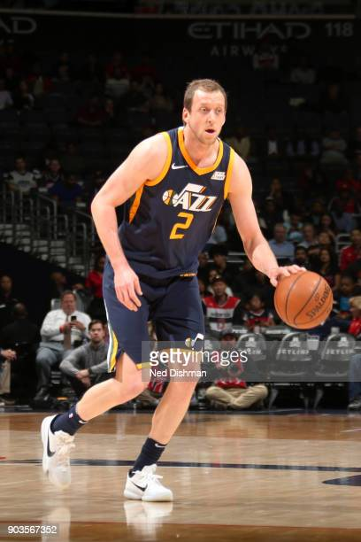 Joe Ingles of the Utah Jazz handles the ball against the Washington Wizards on January 10 2018 at Capital One Arena in Washington DC NOTE TO USER...