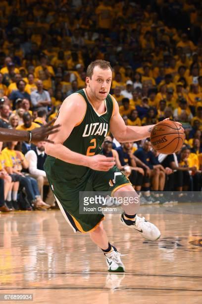 Joe Ingles of the Utah Jazz handles the ball during the game against the Golden State Warriors during Game One of the Western Conference Semifinals...