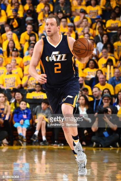 Joe Ingles of the Utah Jazz handles the ball during the game against the Golden State Warriors during Game Two of the Western Conference Semifinals...