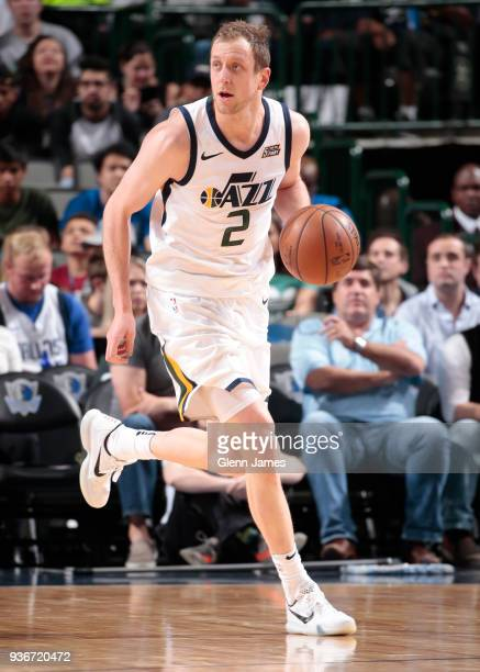 Joe Ingles of the Utah Jazz handles the ball during the game against the Dallas Mavericks on March 22 2018 at the American Airlines Center in Dallas...