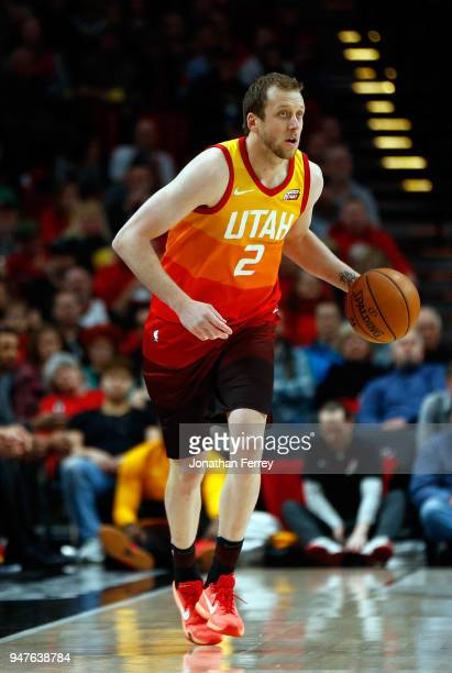 Joe Ingles of the Utah Jazz in action against the Portland Trail Blazers at Moda Center on April 11 2018 in Portland OregonNOTE TO USER User...