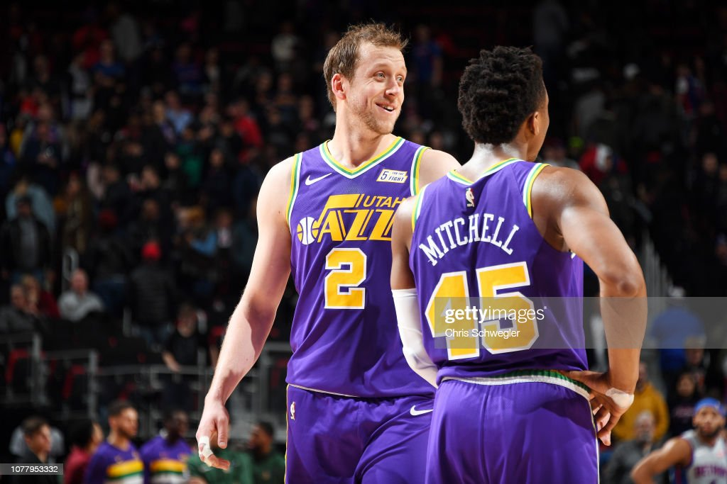 wholesale dealer ac443 9a564 Joe Ingles of the Utah Jazz looks on during the game against ...