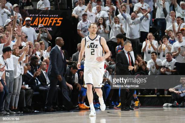 Joe Ingles of the Utah Jazz looks on during the game against the Oklahoma City Thunder in Game Four of Round One of the 2018 NBA Playoffs on April 23...