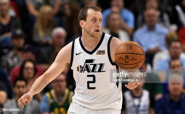 Joe Ingles of the Utah Jazz looks to pass the ball against the Denver Nuggets at Vivint Smart Home Arena on October 18 2017 in Salt Lake City Utah...