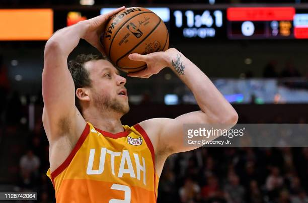 Joe Ingles of the Utah Jazz looks to shoot the ball in a NBA game against the San Antonio Spurs at Vivint Smart Home Arena on February 09 2019 in...