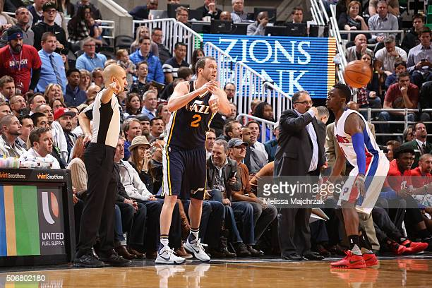 Joe Ingles of the Utah Jazz moves the ball against the Detroit Pistons during the game on January 25 2016 at Vivint Smart Home Arena in Salt Lake...