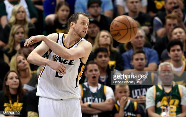 Joe Ingles of the Utah Jazz passes the ball against the Golden State Warriors in Game Three of the Western Conference Semifinals during the 2017 NBA...