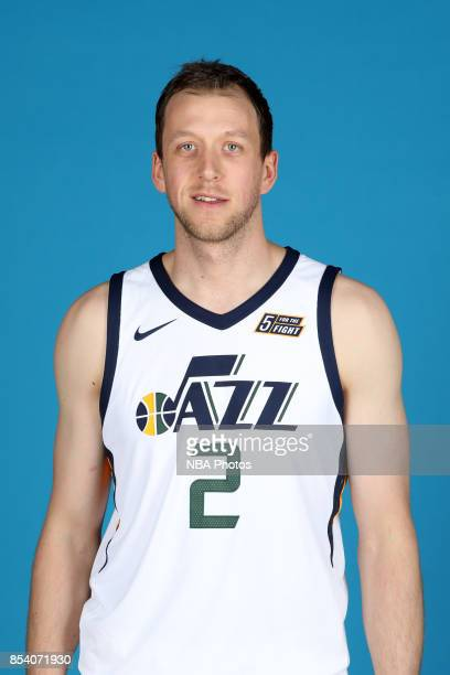 Joe Ingles of the Utah Jazz poses for a heat shot during media day at Zions Bank Basketball Center on September 25 2017 in Salt Lake City Utah NOTE...