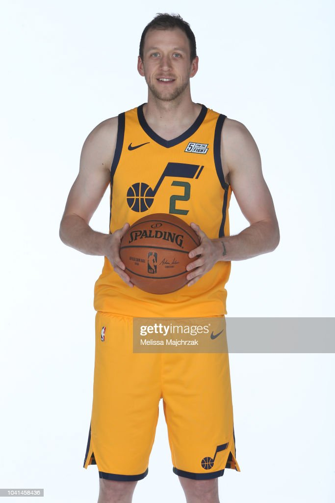 100% authentic b23b0 a470f Joe Ingles of the Utah Jazz poses for a portrait at media ...