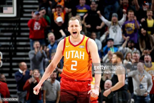 Joe Ingles of the Utah Jazz reacts against the Detroit Pistons on January 14 2019 at Vivint Smart Home Arena in Salt Lake City Utah NOTE TO USER User...
