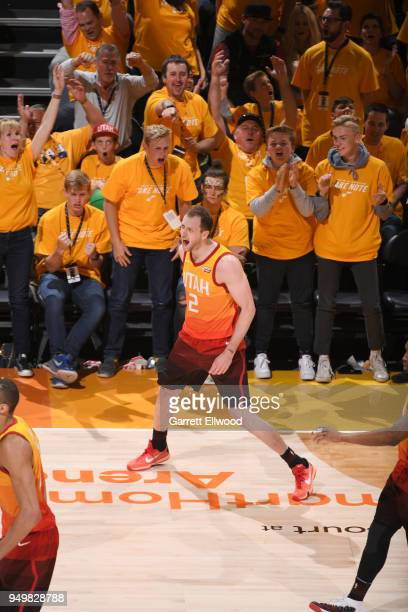 Joe Ingles of the Utah Jazz reacts against the Oklahoma City Thunder in Game Three of Round One of the 2018 NBA Playoffs on April 21 2018 at...