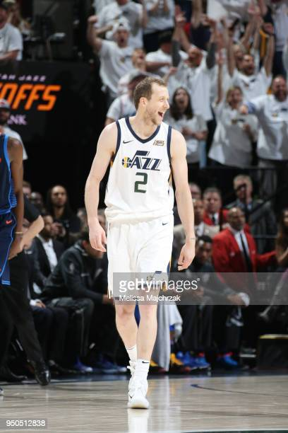 Joe Ingles of the Utah Jazz reacts during the game against the Oklahoma City Thunder in Game Four of Round One of the 2018 NBA Playoffs on April 23...