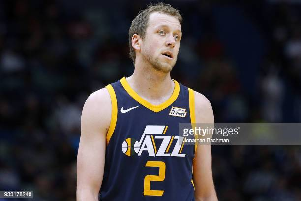 Joe Ingles of the Utah Jazz reacts during the second half against the New Orleans Pelicans at the Smoothie King Center on March 11 2018 in New...