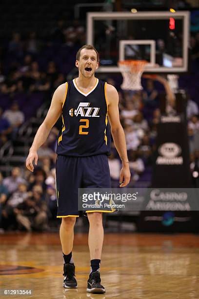 Joe Ingles of the Utah Jazz reacts during the second half of the preseason NBA game against the Phoenix Suns at Talking Stick Resort Arena on October...