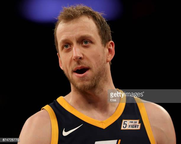 Joe Ingles of the Utah Jazz reacts in the fourth quarter against the New York Knicks at Madison Square Garden on November 15 2017 in New York City...