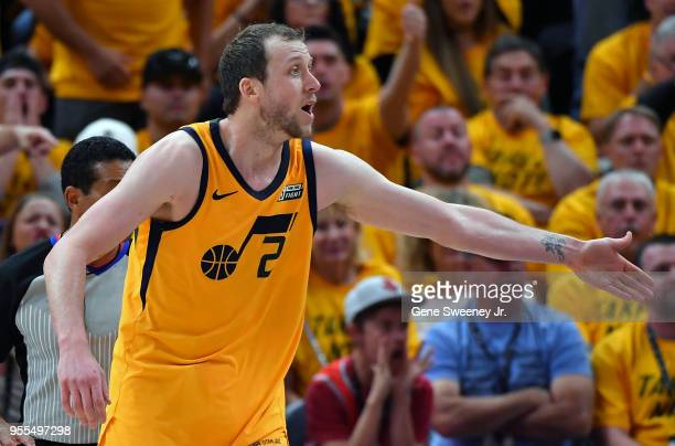 Joe Ingles of the Utah Jazz reacts to a call in the second half during Game Four of Round Two of the 2018 NBA Playoffs against the Houston Rockets at...