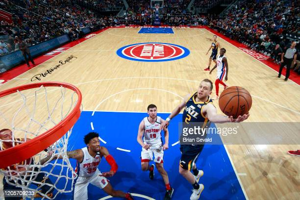 Joe Ingles of the Utah Jazz shoots the ball against the Detroit Pistons on March 7 2020 at Little Caesars Arena in Detroit Michigan NOTE TO USER User...