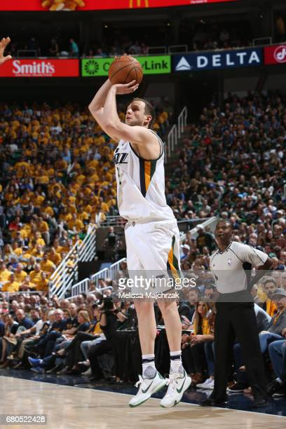Joe Ingles of the Utah Jazz shoots the ball against the Golden State Warriors in Game Four of the Western Conference Semifinals of the 2017 NBA...