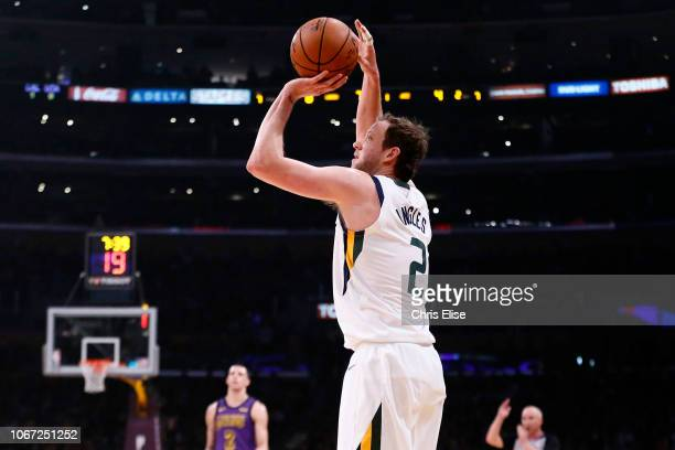 Joe Ingles of the Utah Jazz shoots the ball against the Los Angeles Lakers on November 23 2018 at the STAPLES Center in Los Angeles California NOTE...