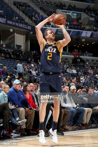 Joe Ingles of the Utah Jazz shoots the ball against the Memphis Grizzlies on November 12 2018 at FedExForum in Memphis Tennessee NOTE TO USER User...