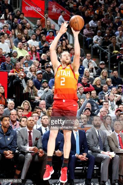 Joe Ingles of the Utah Jazz shoots the ball against the Oklahoma City Thunder on December 22 2018 at Vivint Smart Home Arena in Salt Lake City Utah...