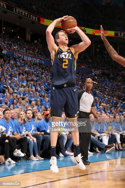 Joe Ingles of the Utah Jazz shoots the ball against the Oklahoma City Thunder during Game One of Round One of the 2018 NBA Playoffs on April 15 2018...