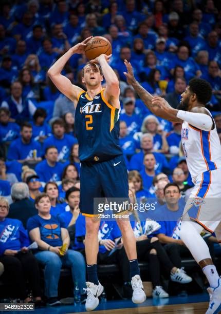 Joe Ingles of the Utah Jazz shoots the ball against the Oklahoma City Thunder during Game one and Round one of the 2018 NBA Playoffs on April 15 2018...