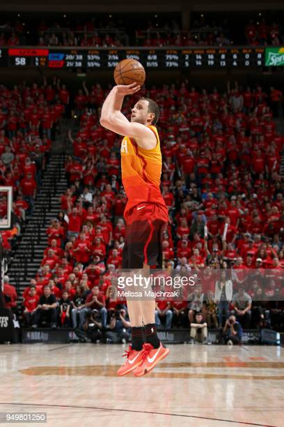 Joe Ingles of the Utah Jazz shoots the ball against the Oklahoma City Thunder in Game Three of Round One of the 2018 NBA Playoffs on April 21 2018 at...