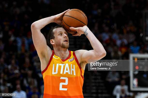 Joe Ingles of the Utah Jazz shoots the ball during the first half of a game against the Golden State Warriors at Vivint Smart Home Arena on January...
