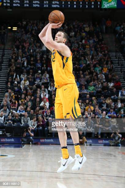 Joe Ingles of the Utah Jazz shoots the ball during the game against the LA Clippers on January 20 2018 at Vivint Smart Home Arena in Salt Lake City...