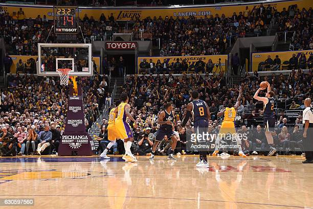 Joe Ingles of the Utah Jazz shoots the ball to take the lead against the Los Angeles Lakers on December 27 2016 at STAPLES Center in Los Angeles...