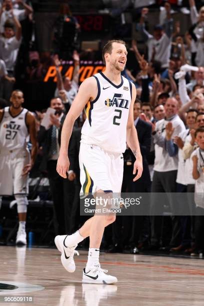 Joe Ingles of the Utah Jazz smiles during the game against the Oklahoma City Thunder in Game Four of Round One of the 2018 NBA Playoffs on April 23...