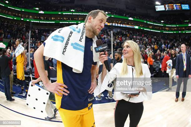 Joe Ingles of the Utah Jazz talks to the media on the court after the game against the Phoenix Suns on March 15 2018 at vivintSmartHome Arena in Salt...