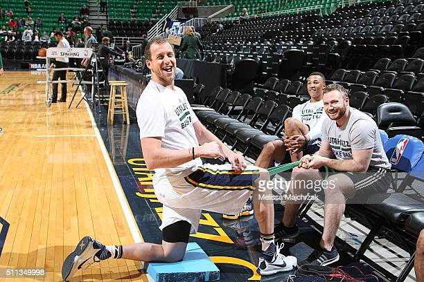 Joe Ingles of the Utah Jazz warms up before the game against the Boston Celtics on February 19 2016 at vivintSmartHome Arena in Salt Lake City Utah...