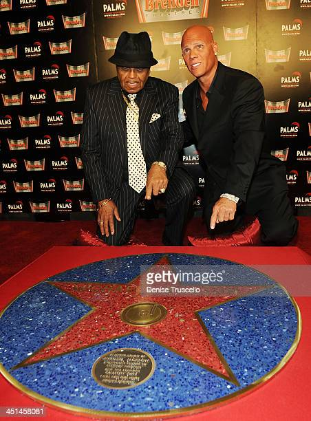 Joe Jackson and Johnny Brenden attend the unveiling of Michael Jackson's Brenden Star dedication at The Palms Casino Resort on August 29 2009 in Las...
