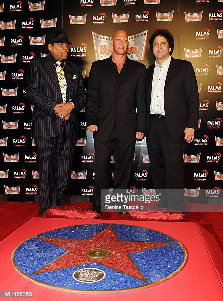 Joe Jackson Johnny Brenden and George Maloof attend the unveiling of Michael Jackson's Brenden Star dedication at The Palms Casino Resort on August...