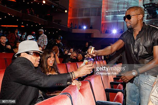 Joe Jackson talks with Kanye West the 2009 MTV Video Music Awards at Radio City Music Hall on September 13 2009 in New York City