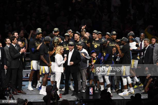 Joe Jacob of the Golden State Warriors talks with Doris Burke after defeating the Cleveland Cavaliers and winning the NBA Championship during Game...