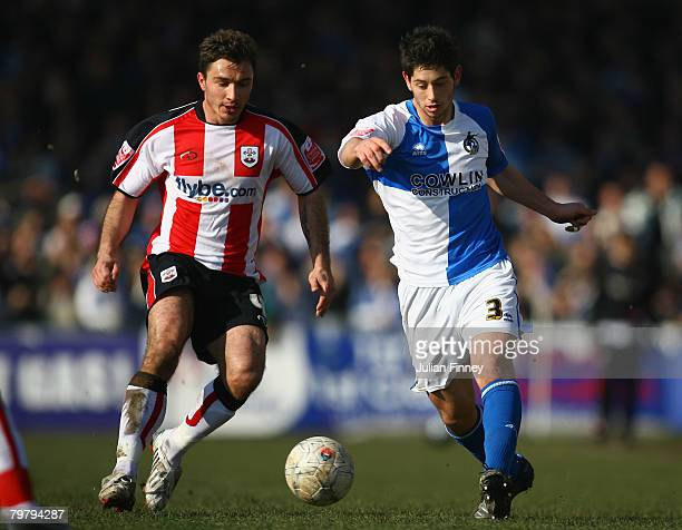 Joe Jacobson of Bristol Rovers battles with Marek Saganowski of Southampton during the FA Cup sponsored by Eon Fifth Round match between Bristol...