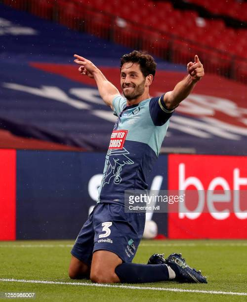 Joe Jacobson of Wycombe Wanderers celebrates after scores from the penalty spot during the Sky Bet League One Play Off Final between Oxford United...