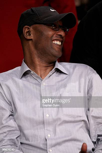Joe Jelly Bean Bryant father of Kobe Bryant of the Los Angeles Lakers laughs as the Lakers play the Oklahoma City Thunder during Game Two of the...