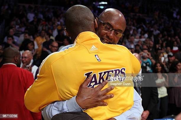 Joe 'Jelly Bean' Bryant hugs his son Kobe Bryant of the Los Angeles Lakers before Game Two of the Western Conference Quarterfinals of the 2010 NBA...