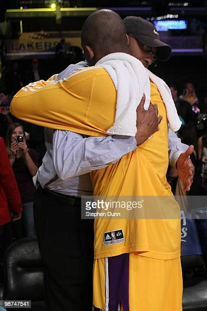 Joe 'Jelly Bean' Bryant hugs his son Kobe Bryant of the Los Angeles Lakers after Game Five of the Western Conference Quarterfinals of the 2010 NBA...