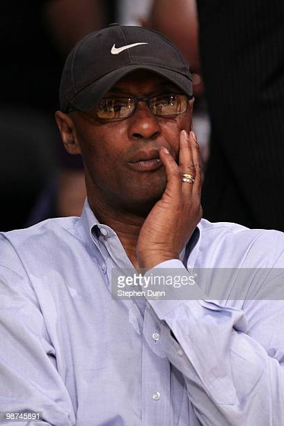 Joe 'Jelly Bean' Bryant the father of Kobe Bryant of the Los Angeles Lakers looks on before Game Two of the Western Conference Quarterfinals of the...