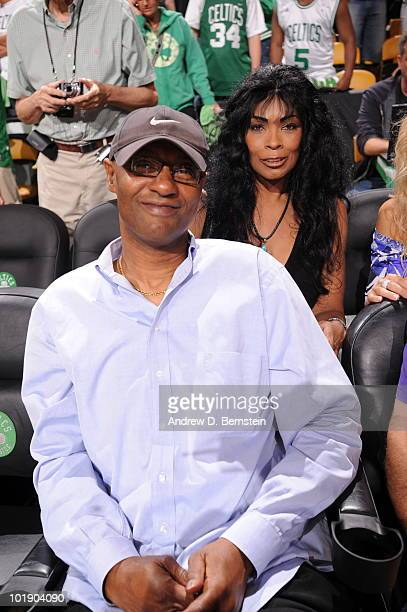Joe Jellybean Bryant and Pamela Cox Bryant takes in the game of the Los Angeles Lakers against the Boston Celtics in Game Three of the 2010 NBA...